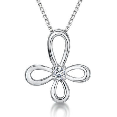 Sterling Silver And White Zirconia Open Flower Necklace With A  Zirconia CentrePendants - JOOLS By Jenny Brown
