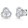 STERLING SILVER AND WHITE ZIRCONIA OPEN  THREE FLOWER STUD EARRINGS WITH A  ZIRCONIA CENTREEarrings - JOOLS By Jenny Brown