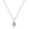 Sterling Silver And White Zirconia  Small Flower Necklace  With A  Silver  CentrePendants - JOOLS By Jenny Brown