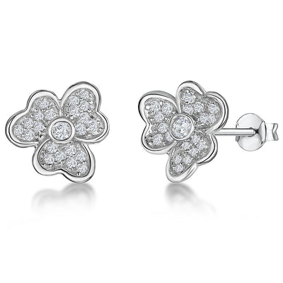 STERLING SILVER AND WHITE ZIRCONIA SPLIT PETAL FLOWER EARRINGS WITH A  ZIRCONIA CENTREEarrings - JOOLS By Jenny Brown