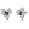 STERLING SILVER AND ZIRCONIA FLOWER EARRINGS WITH A BLACK  ZIRCONIA CENTREEarrings - JOOLS By Jenny Brown