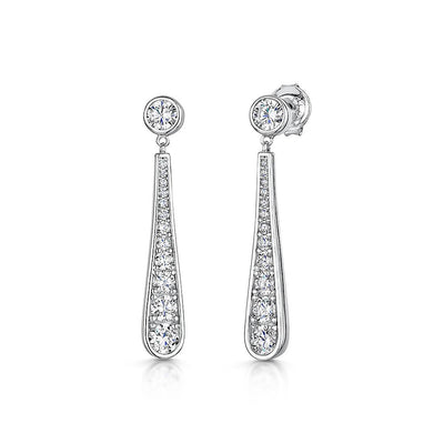 Sterling Silver Long Oval Drop  Earrings- Set With Graduated Round Zirconias- Platinum FinishedEarrings - JOOLS By Jenny Brown