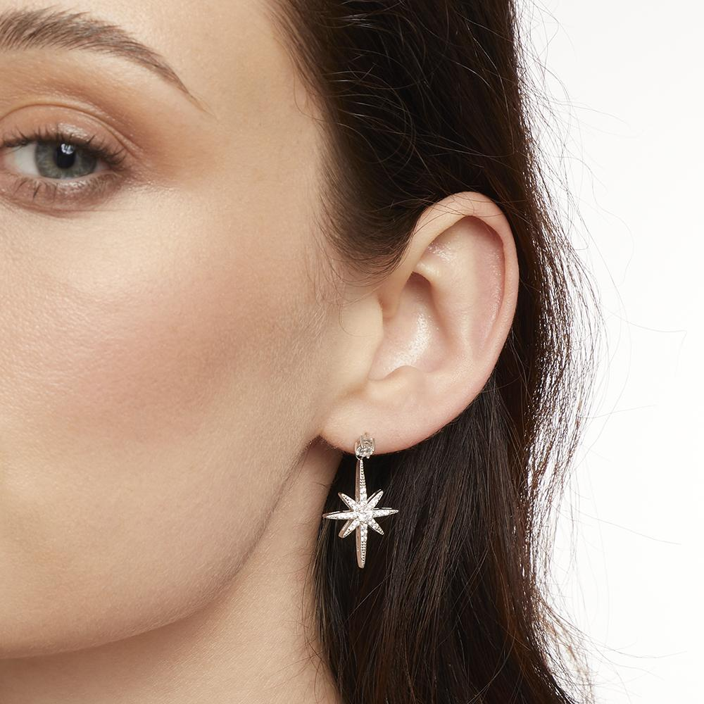 Sterling Silver Small North Star Drop  Stud Earrings With Brilliant Zirconia Stones - Platinum FinishedEarrings - JOOLS By Jenny Brown