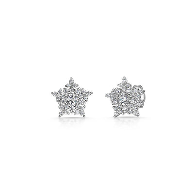STERLING SILVER STAR STUDS  SET WITH A  WHITE ZIRCONIA SURROUNDEarrings - JOOLS By Jenny Brown