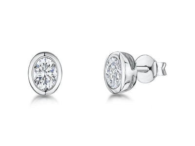 Sterling Silver Earrings Featuring Oval Rub Over CZ SettingEarrings - JOOLS By Jenny Brown