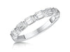 STERLING SILVER EMERALD CUT HALF ETERNITY RING SET WITH FIVE CUT CUBIC ZIRCONIA STONESRings - JOOLS By Jenny Brown