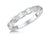 STERLING SILVER EMERALD CUT ONE CARAT  HALF ETERNITY RING SET WITH FIVE CUT CUBIC ZIRCONIA STONES