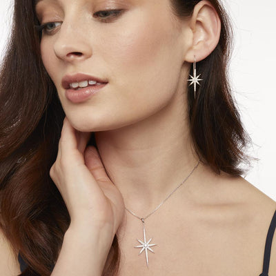 Sterling Silver North Star Shepherds Hook  Earrings Set With Brilliant Zirconia StonesEarrings - JOOLS By Jenny Brown