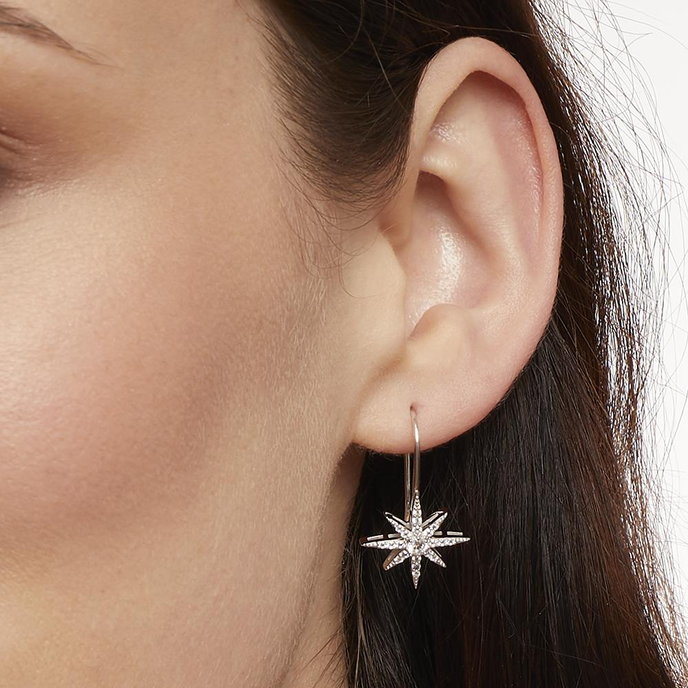Sterling Silver North Star Small Shepherds Hook  Earrings Set With Brilliant Zirconia StonesEarrings - JOOLS By Jenny Brown