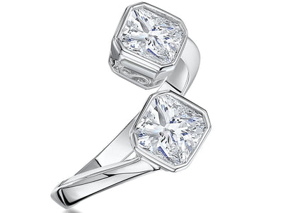 STERLING SILVER OPEN  4 CARAT RING WITH TWO ASSCHER CUT CUBIC ZIRCONIASRings - JOOLS By Jenny Brown