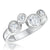 Sterling Silver Raindance Ring Set With 4 White Zirconia Stones