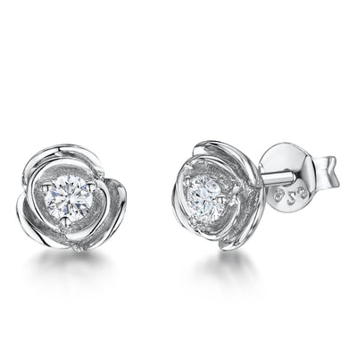 Sterling Silver Rose Flower Stud EarringsEarrings - JOOLS By Jenny Brown