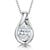 Sterling Silver  Teardrop  Necklace Set With A Single Oval Zirconia