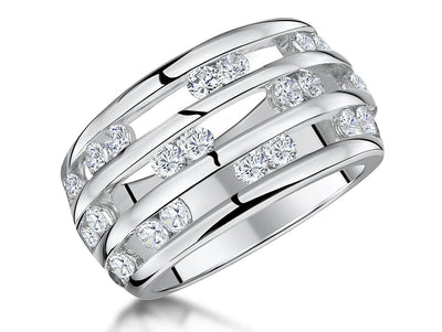 Sterling Silver Ring Triple Band Set with Pairs of Round ZirconiasRings - JOOLS By Jenny Brown