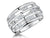 Sterling Silver Ring Triple Band Set with Pairs of Round Zirconias
