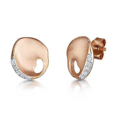 Sterling Silver And Rose Gold Stud Earrings- Satin Finished With Cubic ZirconiasEarrings - JOOLS By Jenny Brown