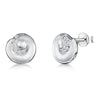 Sterling Silver Round Stud Earrings - Satin Finished With An Inner Swirl of Cubic ZirconiasEarrings - JOOLS By Jenny Brown