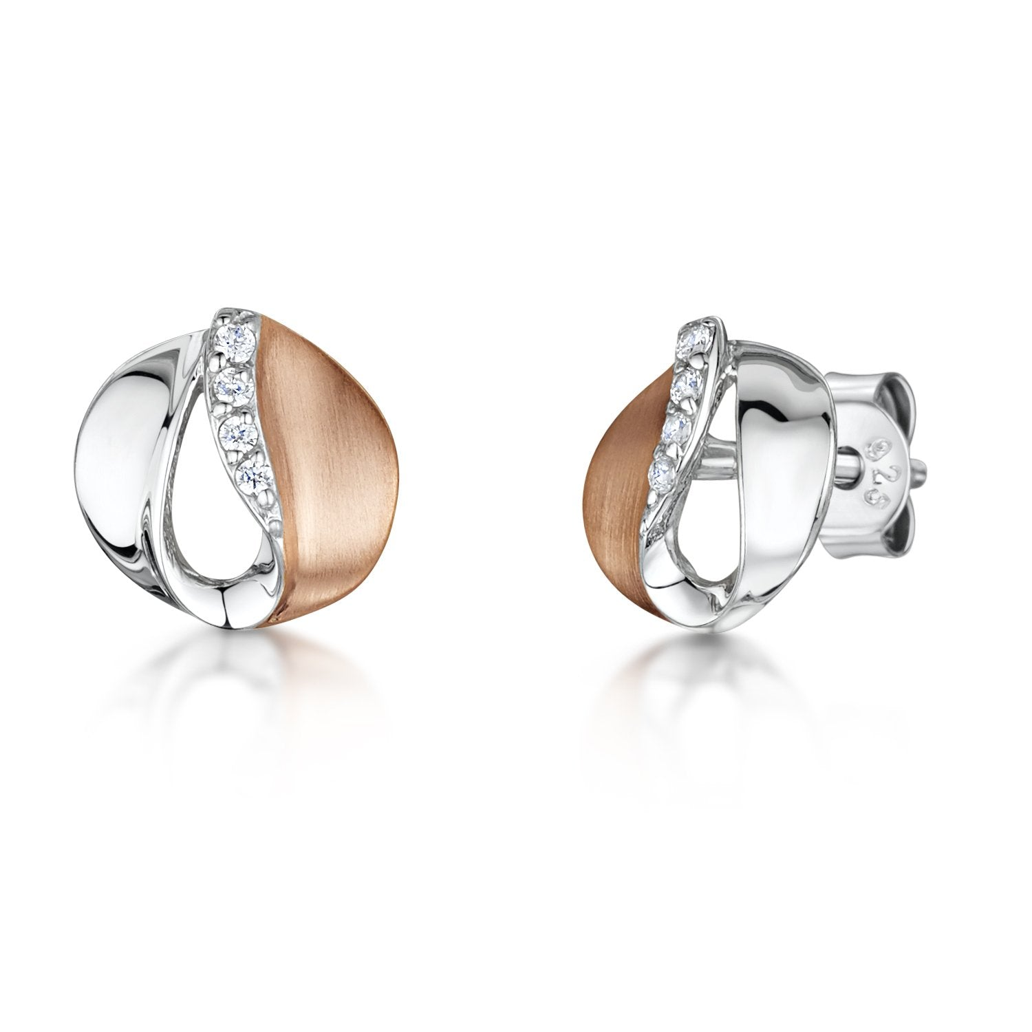 Sterling Silver And Satin Finished  Rose Gold Stud Earrings Set With A Line of Cubic Zirconia Stones - JOOLS By Jenny Brown