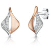 Sterling Silver And Rose Gold Earrings - Satin Finished With A Cubic Zirconia FeatureEarrings - JOOLS By Jenny Brown