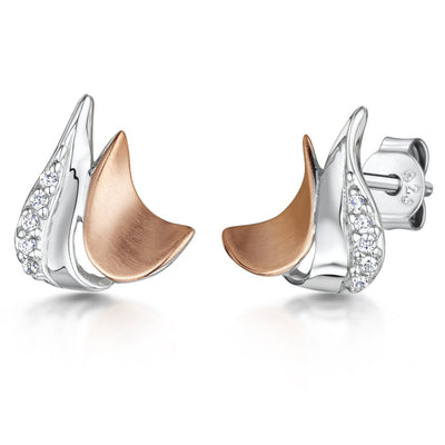 Sterling Silver And Rose Gold Stud Earrings- Satin Finished With A Cubic Zirconia FeatureEarrings - JOOLS By Jenny Brown