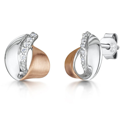 Sterling Silver And Rose Gold Stud Earrings-Satin Finished With Cubic Zirconia StonesEarrings - JOOLS By Jenny Brown