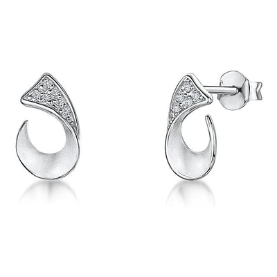 Sterling Silver Stud Earrings- Featuring An Open Horseshoe Setting With Cubic Zirconia StonesEarrings - JOOLS By Jenny Brown