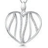 Sterling Silver Open Heart Pendant Set With Lines Of Cubic Zirconia StonesPendants - JOOLS By Jenny Brown