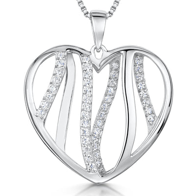 Sterling Silver Pendant - Heart Shape With CZ Lines Running ThroughPendants - JOOLS By Jenny Brown