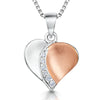 Sterling Silver And Rose Gold Pendant - Featuring A Half Silver Half Rose Gold Satin Finished Heart -With A Cubic Zirconia Stone CentrePendants - JOOLS By Jenny Brown