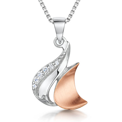 Sterling Silver And Rose Gold Pendant Featuring a Satin Finished SwirlPendants - JOOLS By Jenny Brown