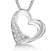 Sterling Silver Heart Pendant  Satin and Satin and Polished Silver  With Offset Cubic Zirconiaspendants - JOOLS By Jenny Brown