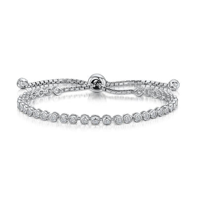 Sterling Silver Friendship Bracelet Set With Brilliant Round Cubic Zirconia StonesBracelets - JOOLS By Jenny Brown