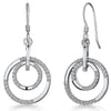 Sterling Silver Circle Drop Earrings- Featuring A Double Silver And CZ Set Of Rings On A Fishhook BackEarrings - JOOLS By Jenny Brown