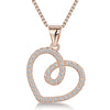 Sterling Silver Open  Twisted Heart Pendant Offset With Cubic Zirconia StonesPendants - JOOLS By Jenny Brown