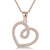 Sterling Silver Open  Twisted Heart Pendant Offset With Cubic Zirconia Stones