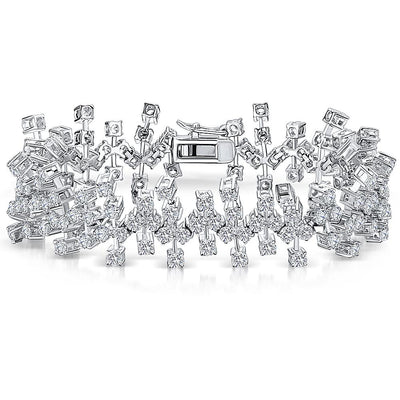 Sterling Silver Bracelet With Scattered Cubic Zirconia StonesBracelets - JOOLS By Jenny Brown