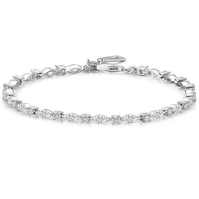 Sterling Silver Tennis Bracelet  Set With Marquise and Round Brilliant Cut Cubic Zirconia StonesBracelets - JOOLS By Jenny Brown