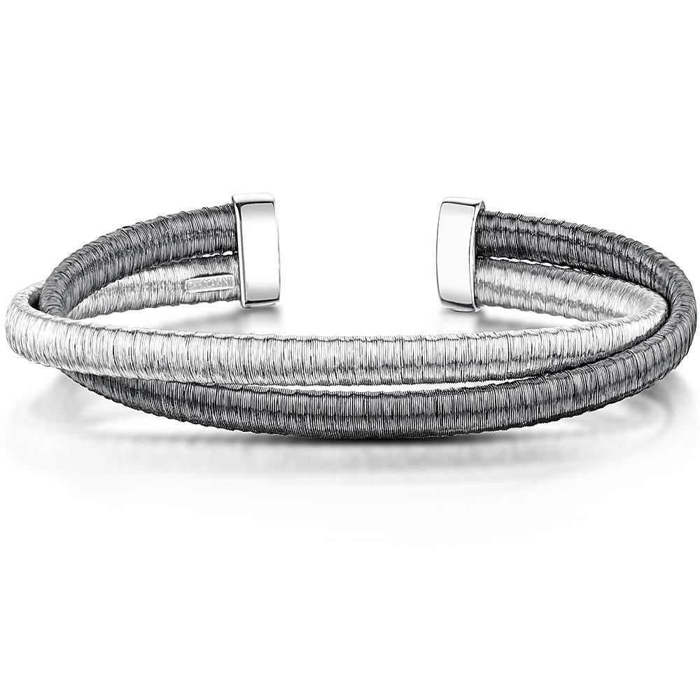 Silver Strand Double Cuff  Bangle With Plain And Black Rhodium Finished SilverBangles - JOOLS By Jenny Brown