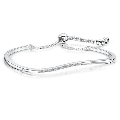 Sterling Silver Friendship Bracelet  With A Curve Top Featuring  Cubic Zirconia StonesBracelets - JOOLS By Jenny Brown
