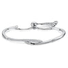 Sterling Silver Friendship Bracelet  With A Silver and  Cubic Zirconia  Crossover FeatureBracelets - JOOLS By Jenny Brown