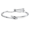 Sterling Silver  and Cubic Zirconia Friendship Bracelet With a Cross Over Silver FeatureBracelets - JOOLS By Jenny Brown