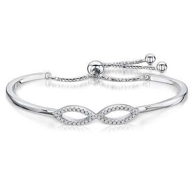 Sterling Silver  and Cubic Zirconia Infinity Bow Friendship BraceletBracelets - JOOLS By Jenny Brown