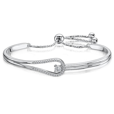 Sterling Silver  and Cubic Zirconia Friendship  Bracelet with A  Solitaire Stone And  Clasp FeatureBracelets - JOOLS By Jenny Brown