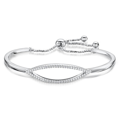 Sterling Silver  and Cubic Zirconia  Friendship Bracelet with An Oval Stone Set FeatureBracelets - JOOLS By Jenny Brown
