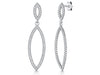 Sterling Silver Angular Oval Drop Earrings Set With Cubic Zirconia Stonesdrop earrings - JOOLS By Jenny Brown