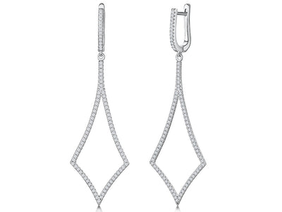 Sterling Silver Art Deco Inspired Diamond Shape Drop Earringsdrop earrings - JOOLS By Jenny Brown