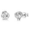 Sterling Silver Small  Woven Knot Stud Earrings With A Beaded EdgeEarrings - JOOLS By Jenny Brown