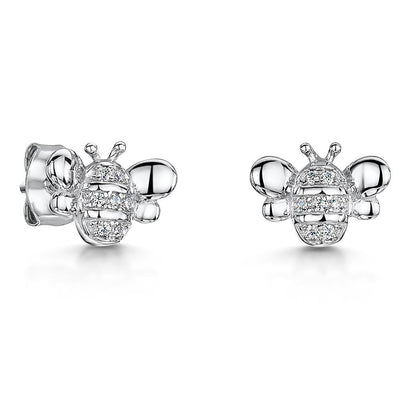 Sterling Silver Bee Stud Earrings Set with a Cubic Zirconia StripesEarrings - JOOLS By Jenny Brown