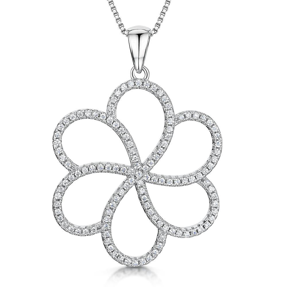 Sterling Silver Open Petal Flower Pendant Set With Cubic Zirconia Stonespendants - JOOLS By Jenny Brown
