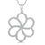 Sterling Silver Open Petal Flower Pendant Set With Cubic Zirconia Stones